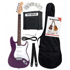 Rocktile Banger's Pack Electric Guitar Set, 8-Piece Purple