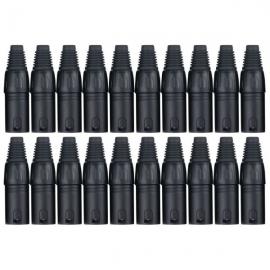 Pronomic connector set XLR male 20 pcs black
