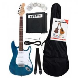 Rocktile Banger's Pack Electric Guitar Set, 8-Piece Transparent Blue
